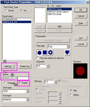 orcad layout how to add a blind via